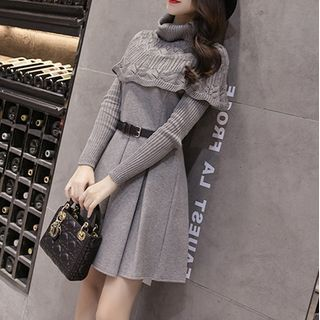 KOHIN - Turtleneck A-Line Mini Knit Dress