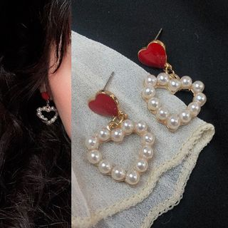 PO!NY STUDIO  - Faux Pearl Heart Drop Earring