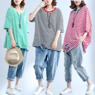 Sophie's World - Elbow-Sleeve striped Ripped Oversized T-Shirt