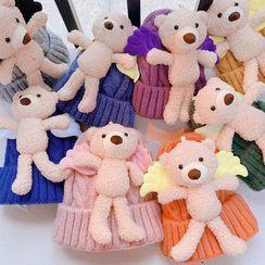 Hazy Beauty - Kids Chenille Bear Knit Beanie