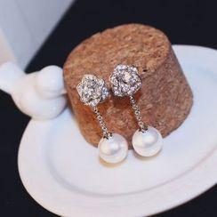 Infini - Rhinestone Flower Faux Pearl Drop Earring