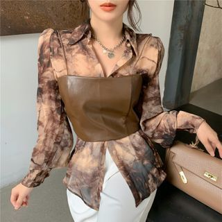 Alfie - Long-Sleeve See-Through Print Shirt / Faux-Leather Sleeveless Top