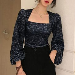 Bakli - Square-Neck Puff-Sleeve Floral Velvet Long-Sleeve Top