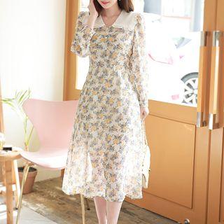 MyFiona - Frilled Sailor-Collar Long Floral Dress