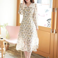 MyFiona - Frilled Sailor-Collar Long Floral Dress