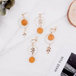Jasminte - Wooden Disc & Alloy Twig Dangle Earrings