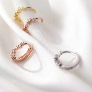 A'ROCH - 925 Sterling Silver Rhinestone Hoop Earrings