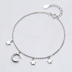 A'ROCH - 925 Sterling Silver Rhinestone Moon and Star Bracelet