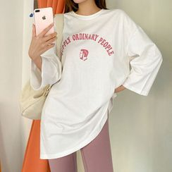 Seoul Fashion - Round-Neck Letter-Printed Long T-Shirt