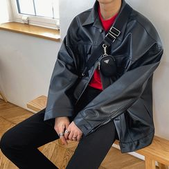 MRCYC - Faux Leather Button-Up Jacket