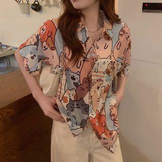 Cloud Nine - 短袖猫咪印花衬衫
