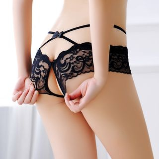 Boanne - 蕾丝开裆内裤