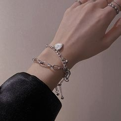 Poppin - Alloy Heart Double-Layered Bracelet