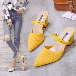 BARCA(バルカ) - Ribbed Pointy-Toe Chunky-Heel Mules