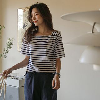 JUSTONE - Square-Neck Stripe T-Shirt