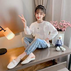 Qin Qin - 小童套装: 荷叶衬衫 + 仿珍珠哈伦牛仔裤
