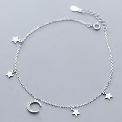 A'ROCH - 925 Sterling Silver Moon & Star Anklet