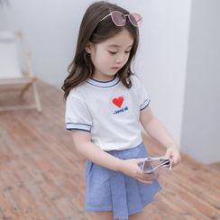 BobaBop - Kids Set: Short-Sleeve Heart Print T-Shirt + Pleated Mini Skirt