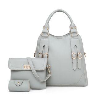 Denyard - Set: Buckled Handbag + Shoulder Bag + Card Holder