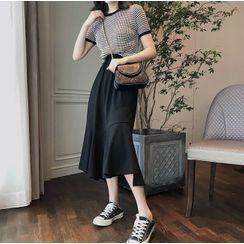 Apotheosis - Set: Short-Sleeve Check T-Shirt / Slit Midi A-Line Skirt