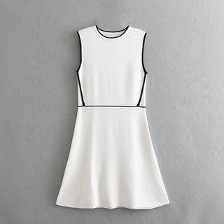 Zazadoll - Contrast Trim Sleeveless Mini A-Line Dress