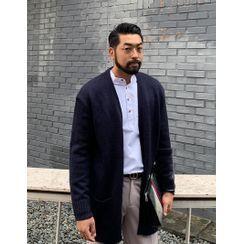 GERIO - Open-Front Dual-Pocket Cardigan