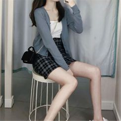 Apotheosis - Set: Plain V-Neck Cardigan + Camisole Top + Plaid Mini A-Line Skirt
