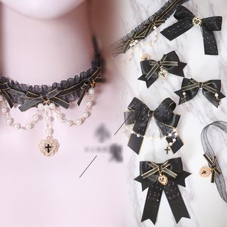 Elfis - Bow and Cross Pendant Choker / Hair Clip / Brooch / Earrings