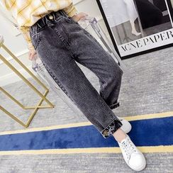 Qin Qin - Kids Elastic-Waist Washed Jeans