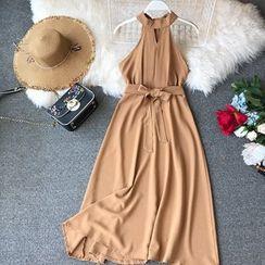 Yearnin - Sleeveless Halter A-Line Midi Dress