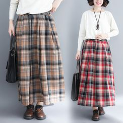 RAIN DEER - Plaid Semi Maxi Skirt