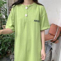 Mushini - V-Neck Buttoned  A-Line Dress