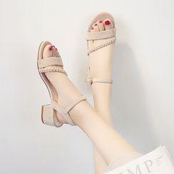 Moonlit Valley - Block Heel Ankle Strap Sandals
