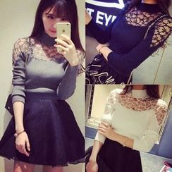 Carmenta - Long-Sleeve Lace Panel Knit Top