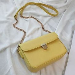 NewTown - Chain Strap Faux Leather Crossbody Bag
