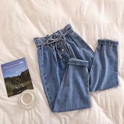 DIYI - Pantalones vaqueros paper bag con botones