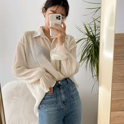 NIPONJJUYA - Crinkled Sheer Blouse