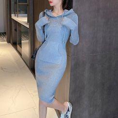 Nine Tails - Midi Sheath Knit Hoodie Dress