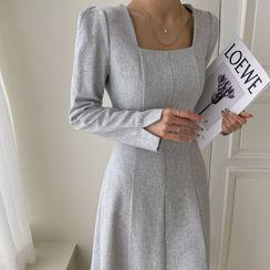 DABAGIRL - Puff-Sleeve Square-Neck Midi Flare Dress