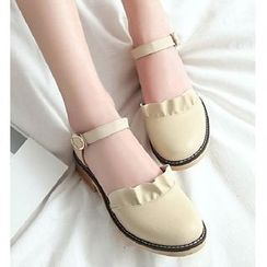 Freesia(フリージア) - Frill Trim Chunky Heel Sandals
