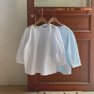 CHERRYKOKO - Balloon-Sleeve Cotton Blouse