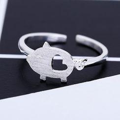 Gaya - Pig Sterling Silver Open Ring