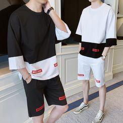 Bay Go Mall - Set: Contrast Color 3/4-Sleeve T-Shirt + Straight-Cut Sweatshorts