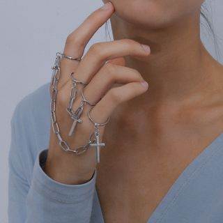 Seirios - Set: Alloy Cross Chained Rings