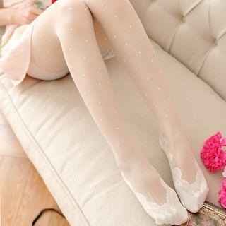 MEIA - Lace Panel Dotted Tights