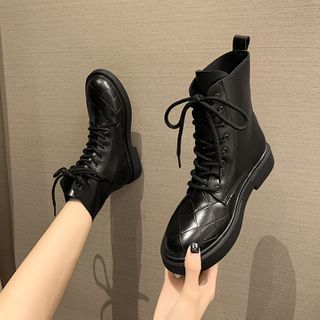 Nikao - Faux Leather Lace-Up Ankle Boots