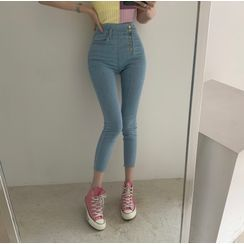 Pegan - Cropped Washed Skinny Jeans