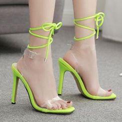 Niuna - PVC Strap Lace-Up Stiletto Heel Sandals