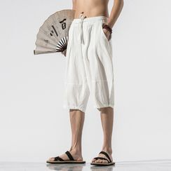 Lefitt - 纯色抽绳腰短裤