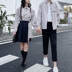 Azure - Couple Matching Plaid Shirt / Pleated Skirt / Pants / Set